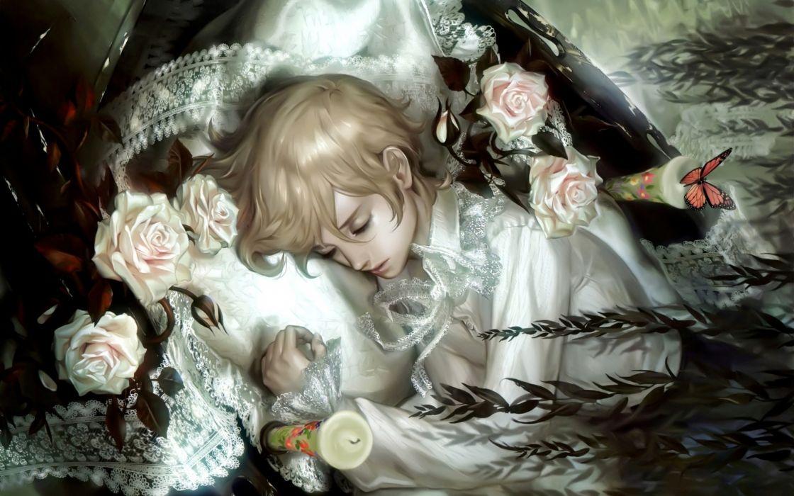 fantasy men boy mood sleep flowers candles butterfly silk soft art detail wallpaper