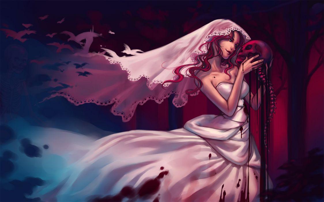 dark fantasy women girl dark blood horror scary creepy spooky macabre gothic skull gore skeleton art anime wallpaper