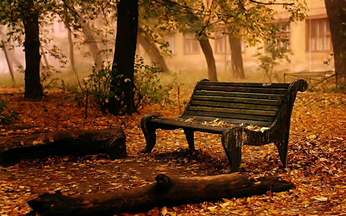 landscapes bench chair seat autumn fall leaves trees mood wallpaper