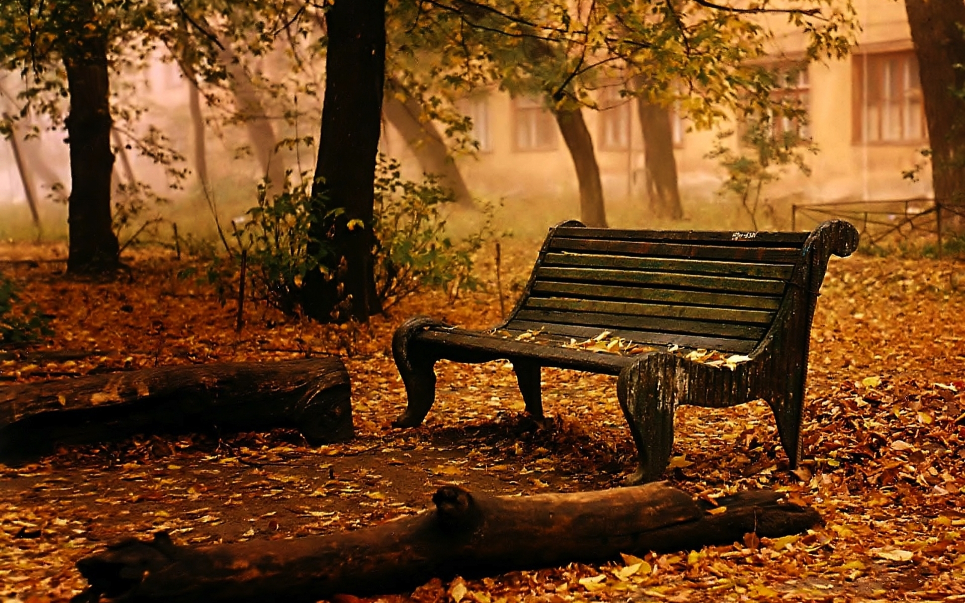 Garden Design With Landscapes Bench Chair Seat Autumn Fall Leaves Trees Mood Large Backyard