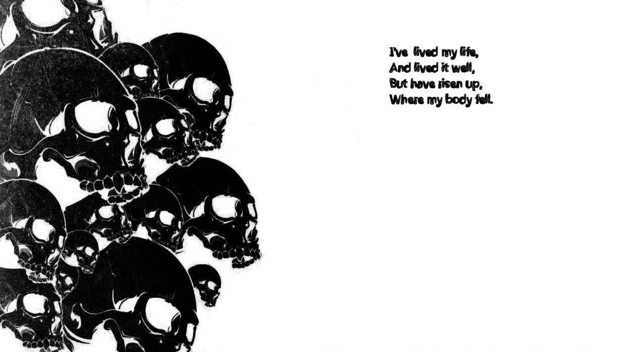dark skull death life statement text quoate black white contrast horror scary creepy spooky wallpaper