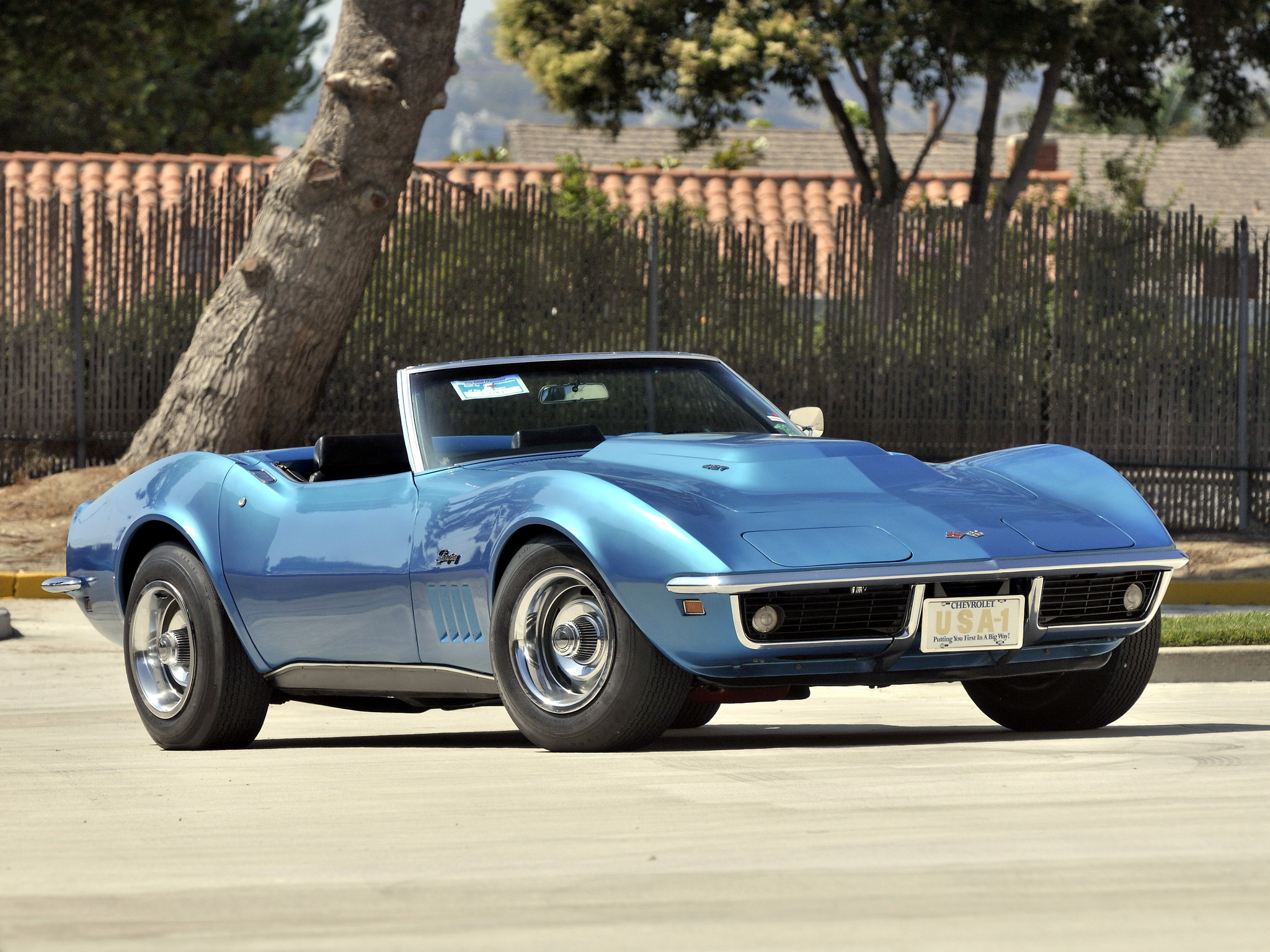 Chevrolet Corvette Stance Classic Muscle Cars Bluee Wallpaper