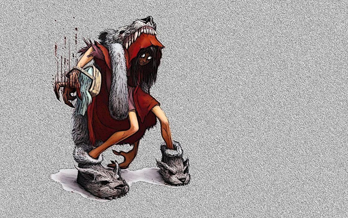 dark little red riding evil girl anime scary creepy spooky wolves wallpaper