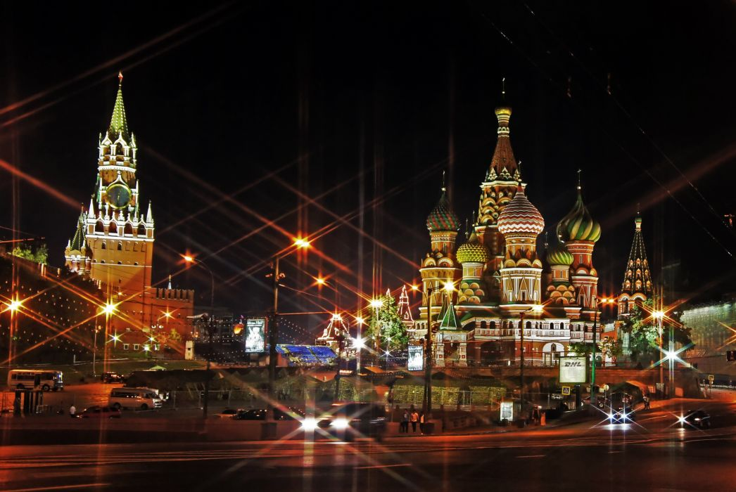 Moscow Temples architecture buildings cathedral church lights roads cars wallpaper