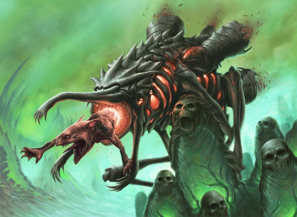 magic the gathering artwork dave allsop fantasy monster creature dark skull horror scary creepy evil wallpaper