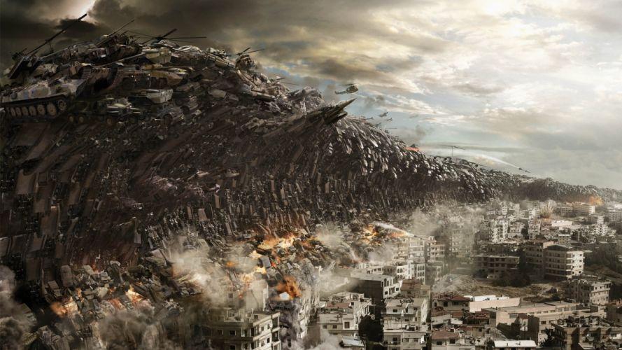 dark fantasy manipulation cg digital art cities apocalypse military helicopters war battle invasion sci fi wallpaper