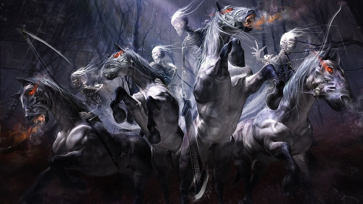 dark fantasy evil undead skeleton skull animals horses weapons sword trees forest horror scary creepy spooky halloween wallpaper