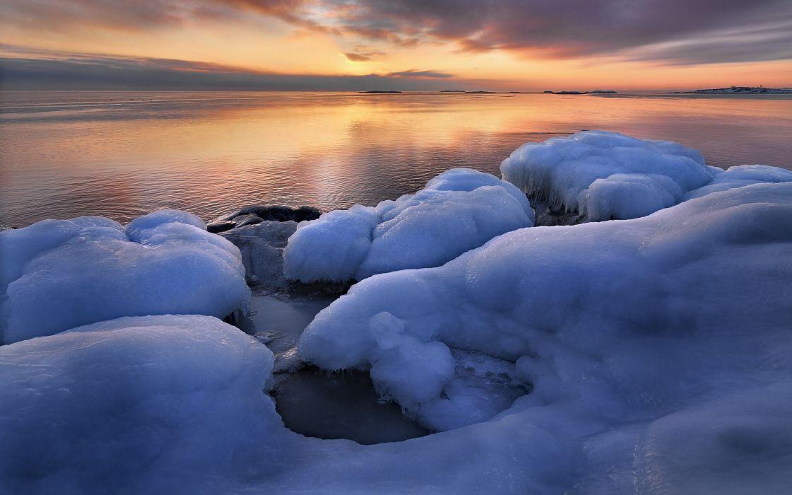 winter ice shore beaches coast ocean sea sunrise sunset sky clouds wallpaper