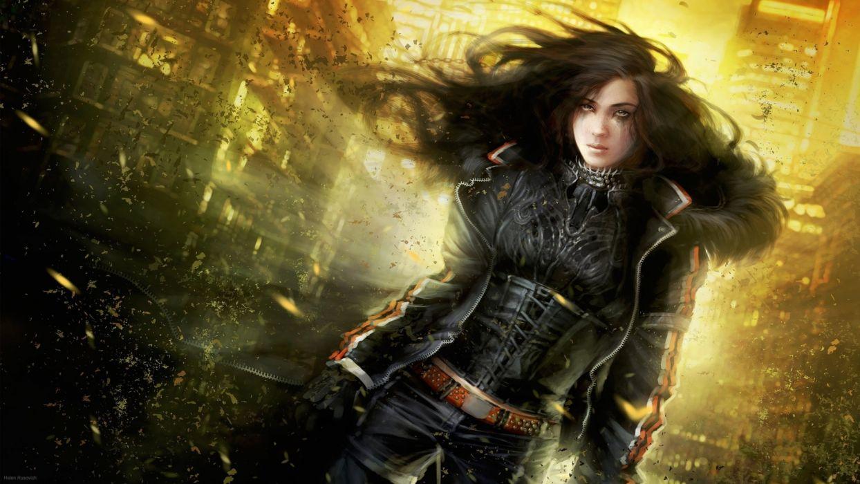 cg digital art women apocalypse sci fi futuristic brunette wallpaper