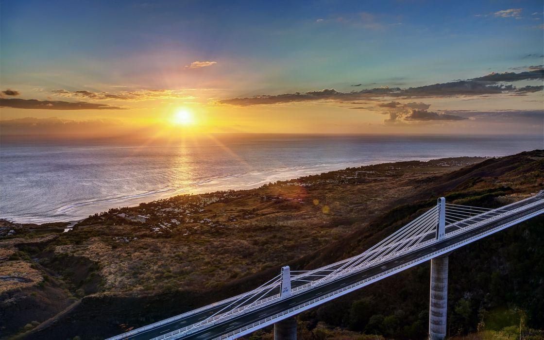 architecture bridges nature ocean sea sunset sunrise sky clouds wallpaper