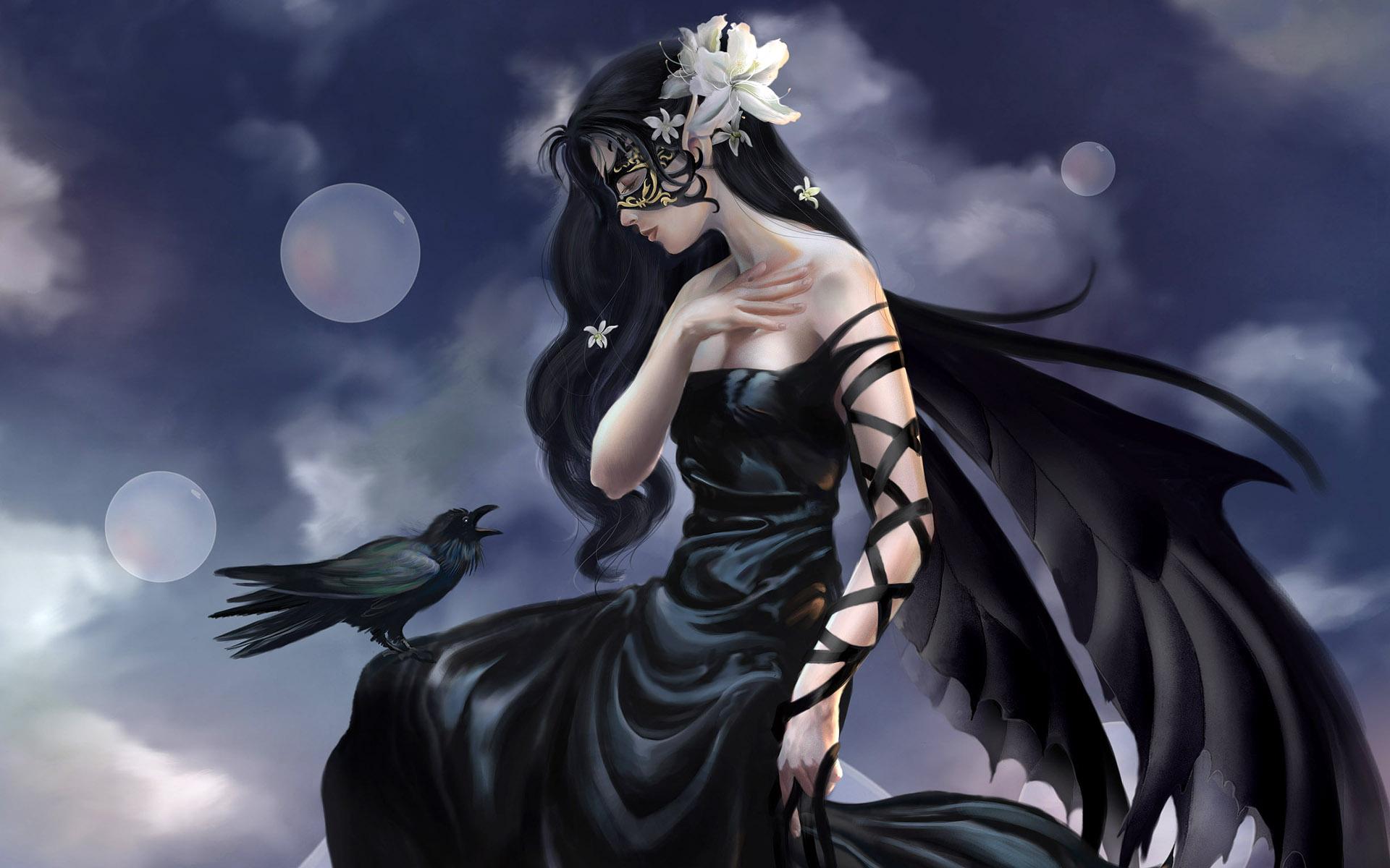 dark witch animals birds raven gothic women cg digital art wallpaper ...
