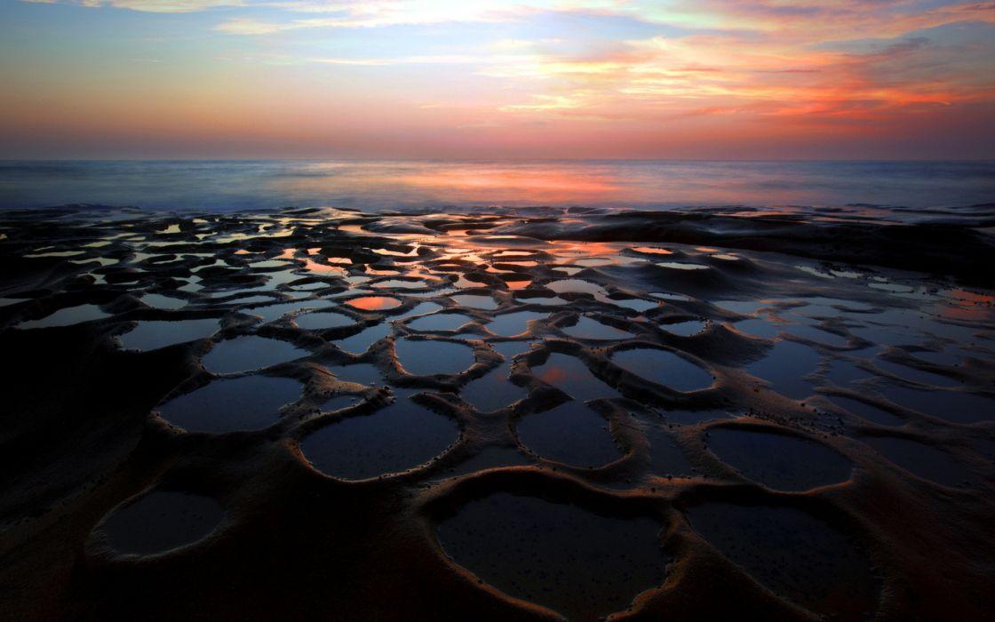 shore coast ocean sea sky clouds sunrise sunset wallpaper