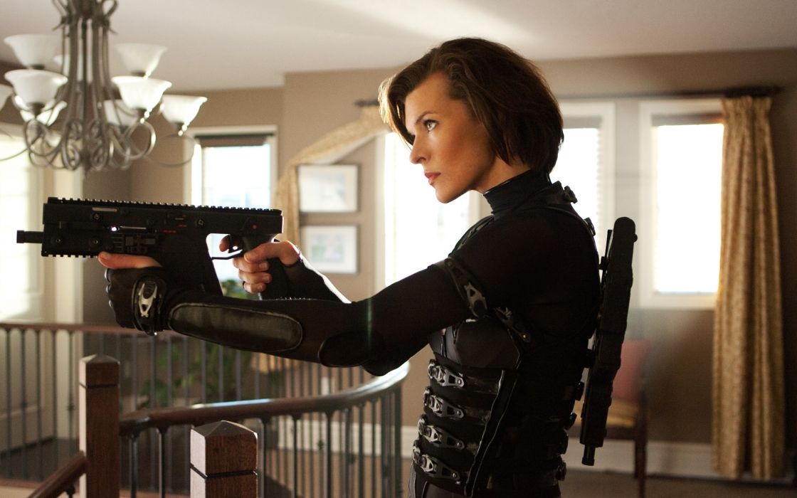 resident evil retribution Milla Jovovich weapons guns women sci fi horror zombies dark wallpaper