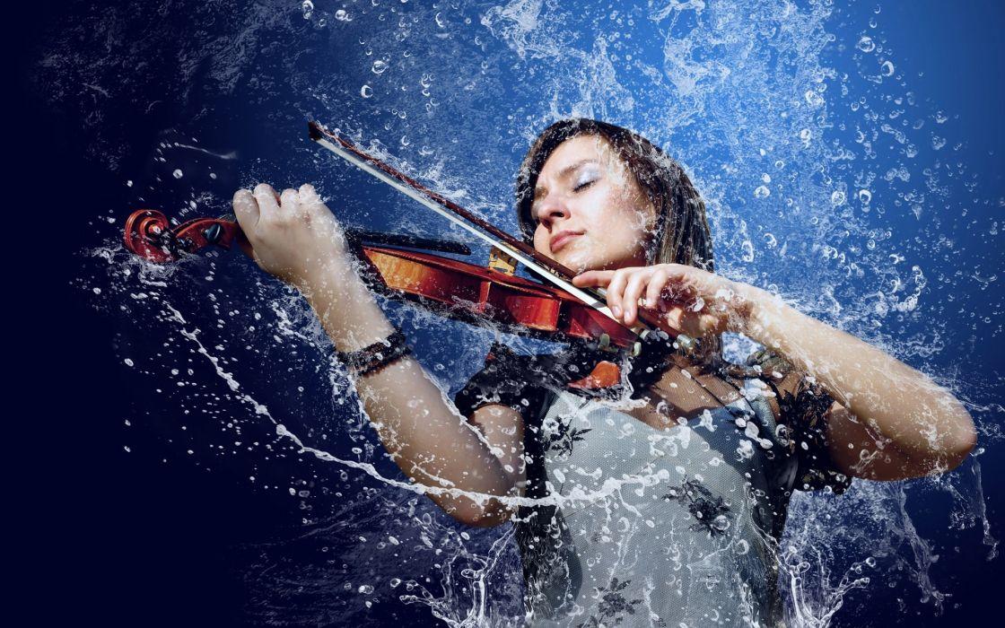 violin musical instrument splash drops women wallpaper