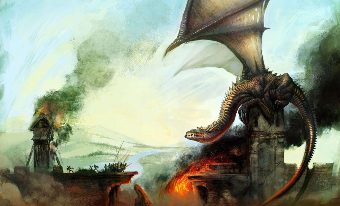 fantasy dragon castle fire wallpaper