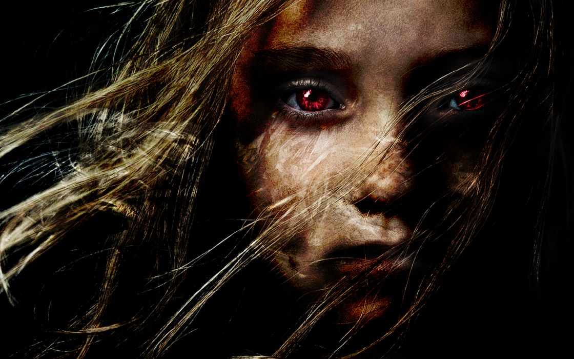 dark gothic horror scary creepy spooky demon evil face blonde women wallpaper