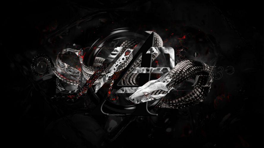 animals serpent snakes reptile cg digital art tech mech wallpaper
