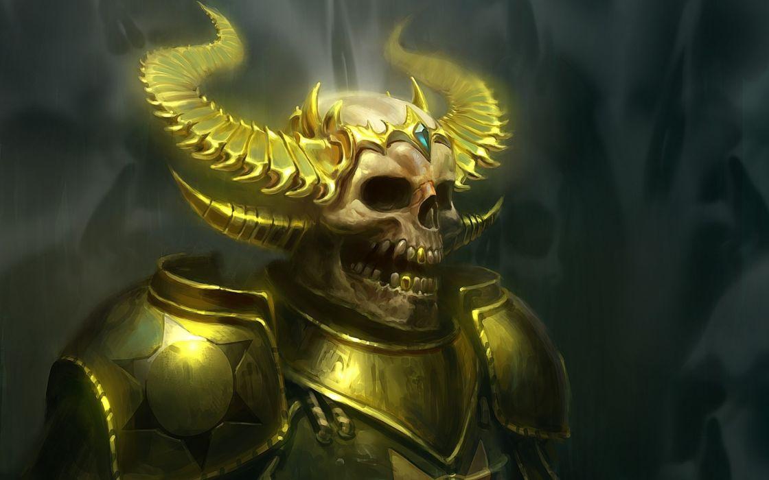 fantasy dark skull armor helmet horns wallpaper