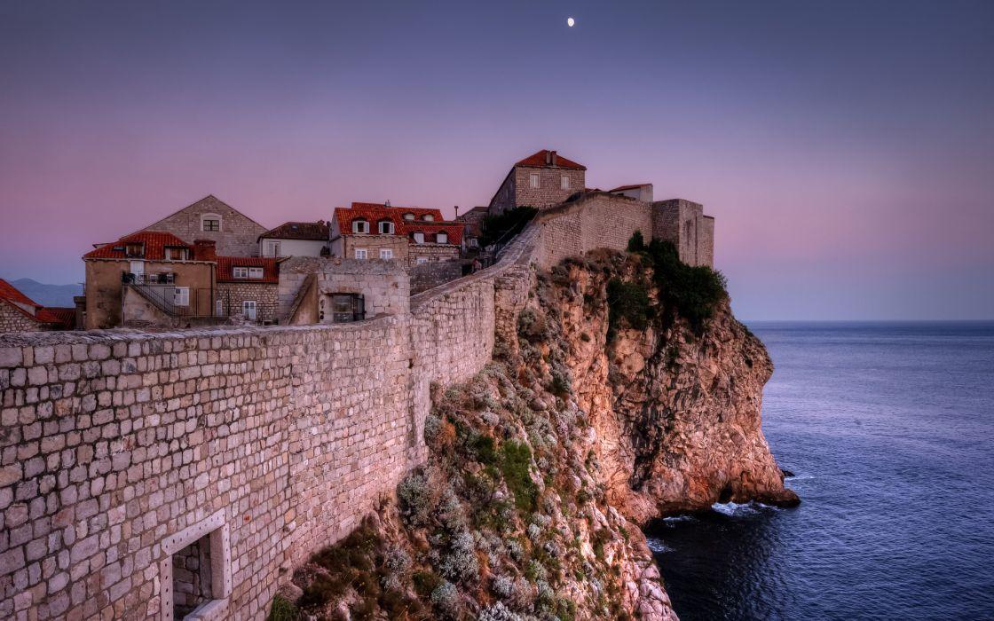 Dubrovnik Croatia jetty buildings ocean sea sky moon wallpaper