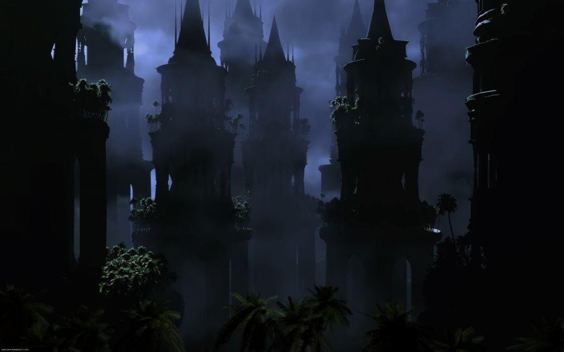 fantasy cities architecture buildings dark fog wallpaper