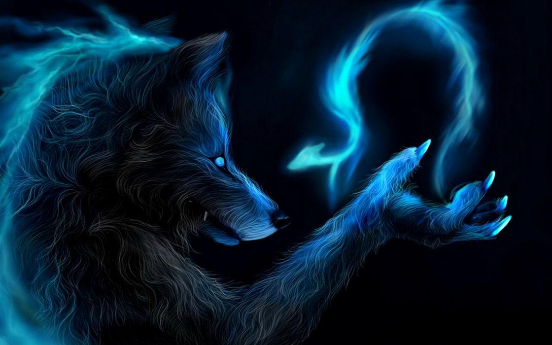 dark fantasy werewolf wolf wolves lycan magic dragon blue art wallpaper