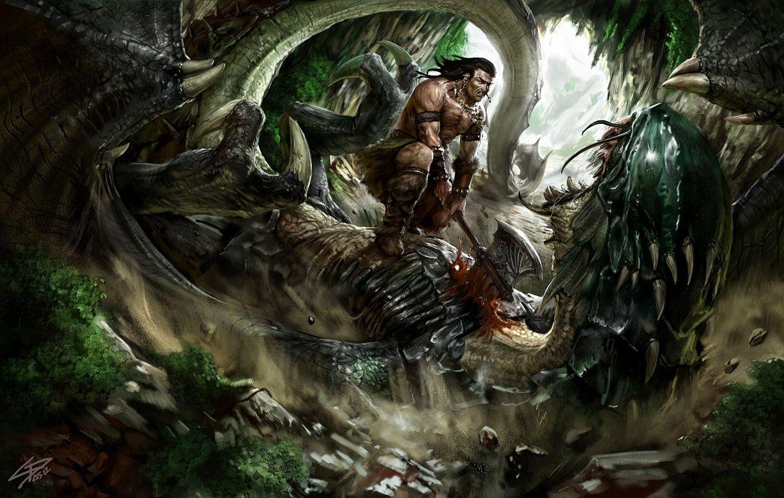 fantasy dark warrior dragon battle death weapons axe wallpaper