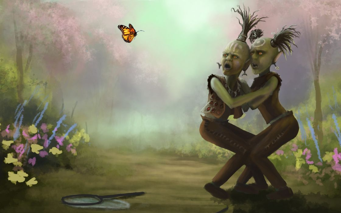 fantasy art monsters creatures butterfly scary creepy spooky humor insect nature flowers wallpaper
