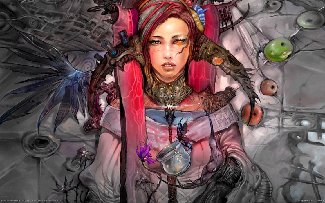 sci fi fantasy cyborg steampunk women mech tech wallpaper