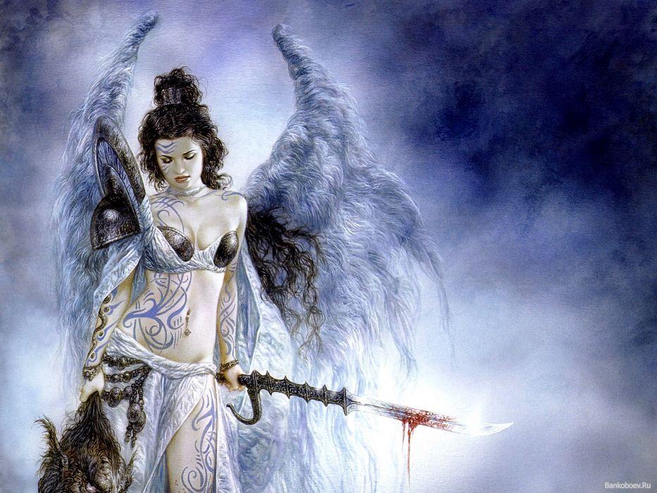 luis royo fantasy warrior weapon sword lance blood women sexy art angel wallpaper