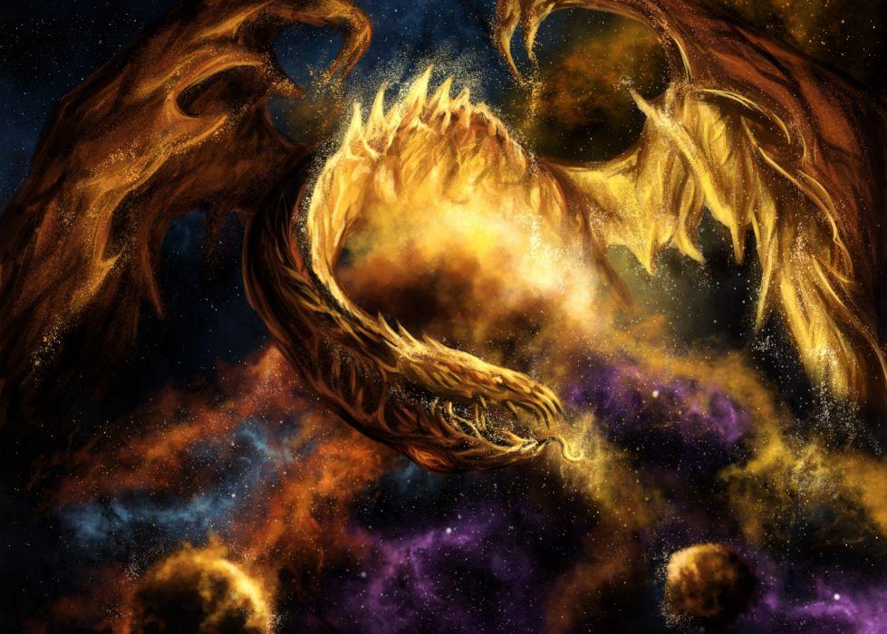 fantasy dragon fire sci fi space nebula stars art wallpaper
