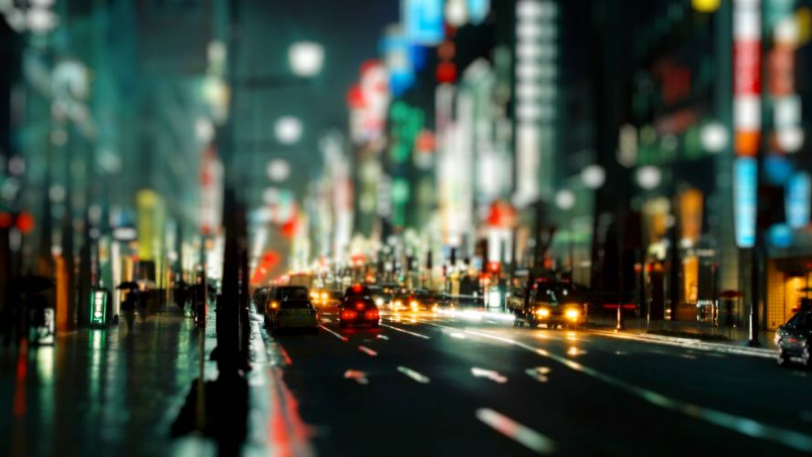 roads traffic cities architecture buildings tiltshift cars lights night people wallpaper