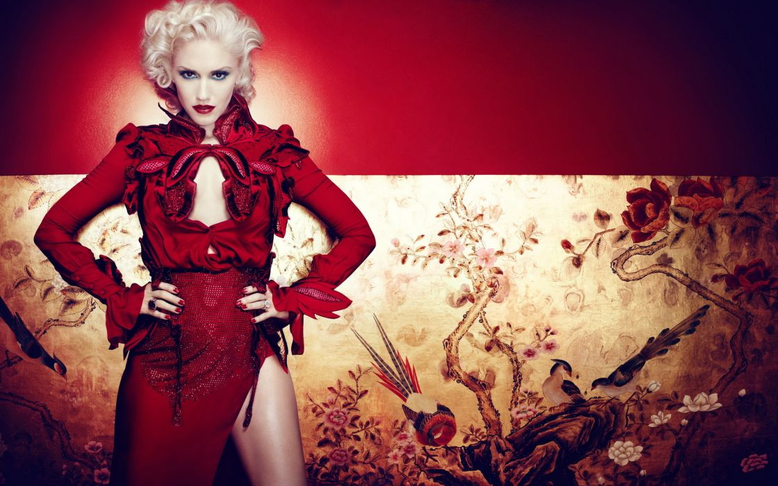 Gwen Stefani No Doubt singer musician women blonde sexy leg red wallpaper