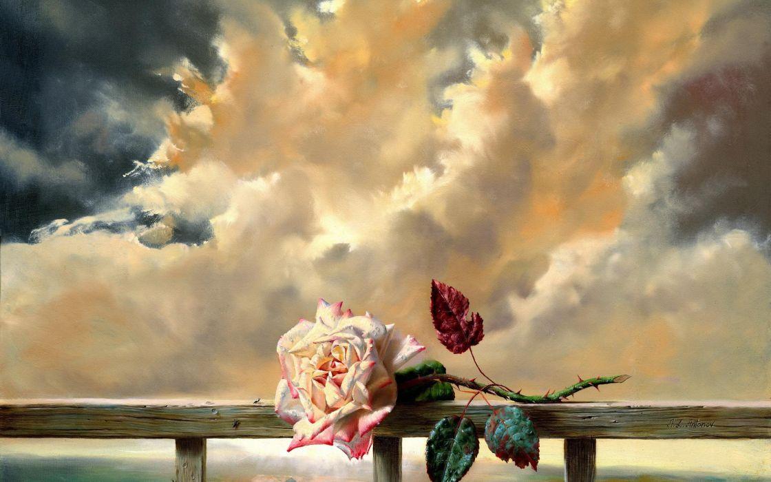 mood flowers sky clouds bokeh art paintings love romance wallpaper