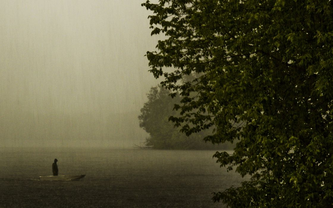 lakes mood situation people storm rain drops trees dark boats wallpaper