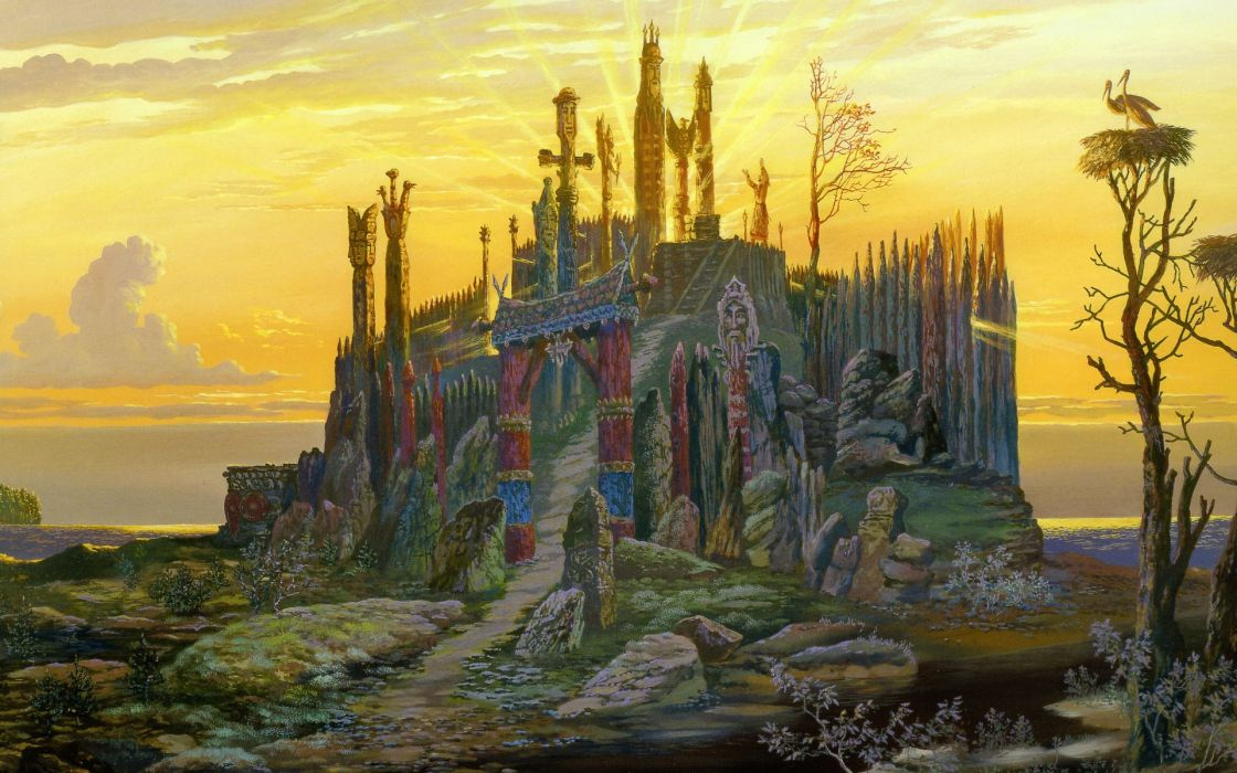 fantasy history russian architecture buildings color sky clouds sunset sunrise animals birds art paintings wallpaper