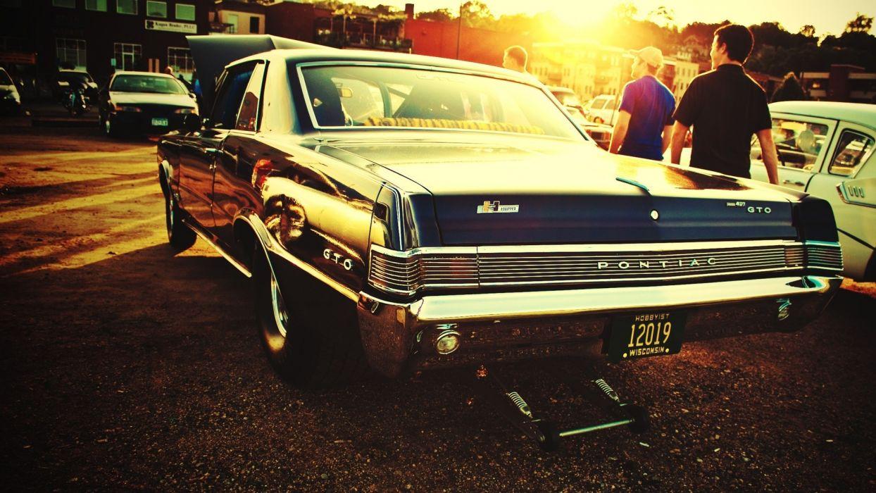 Pontiac GTO hot rod cars classic muscle drag racing race roads sunset people wallpaper