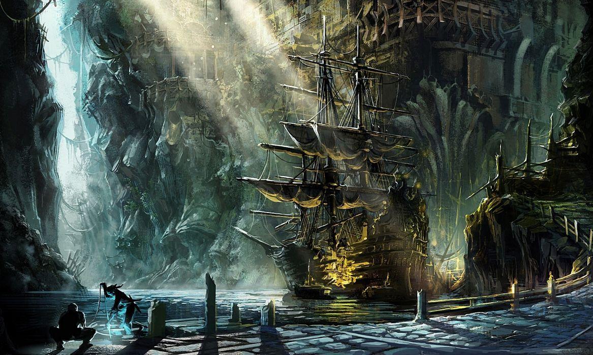 Fantasy ship pirate magic cities harbor bay sunlight beam - Anime pirate wallpaper ...