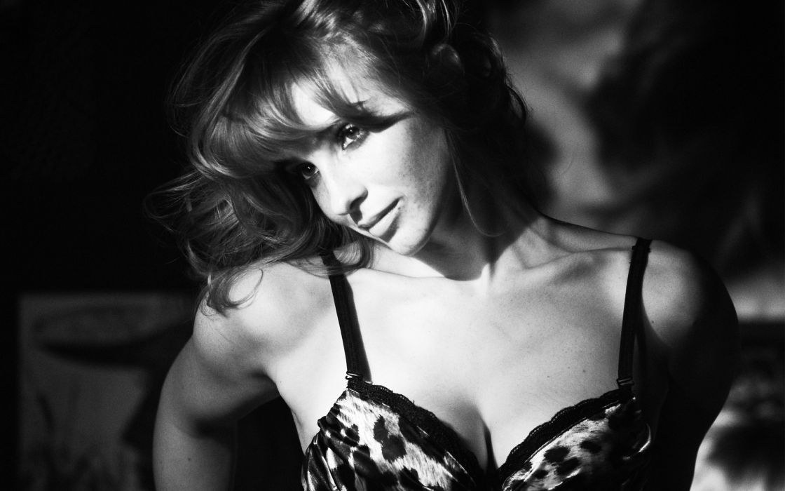 monochrome women models brunettes sexy face lingerie wallpaper