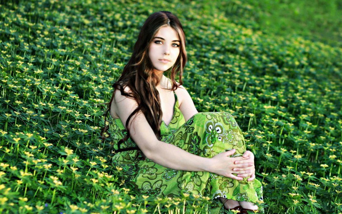 women model mood green brunette flowers wallpaper