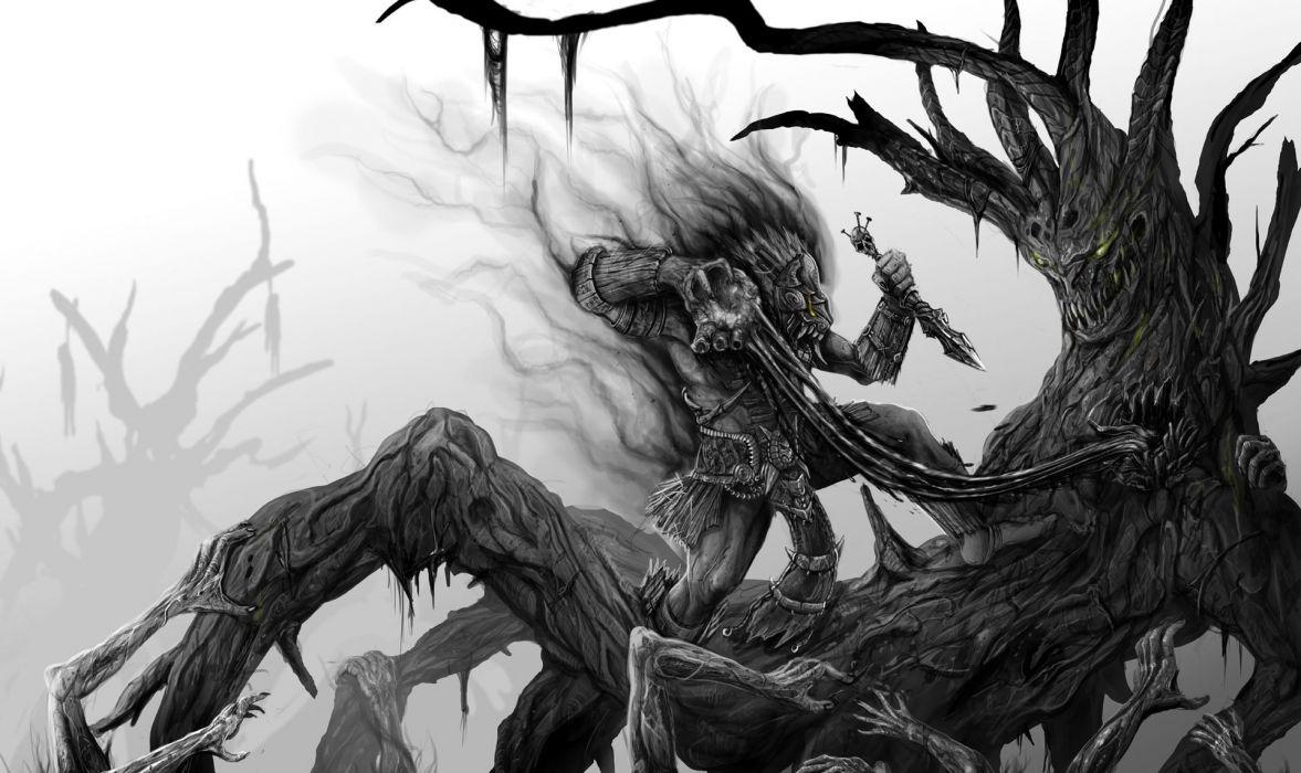 dark fantasy warrior monster creatures weapon horror scary creepy spooky art battle wallpaper