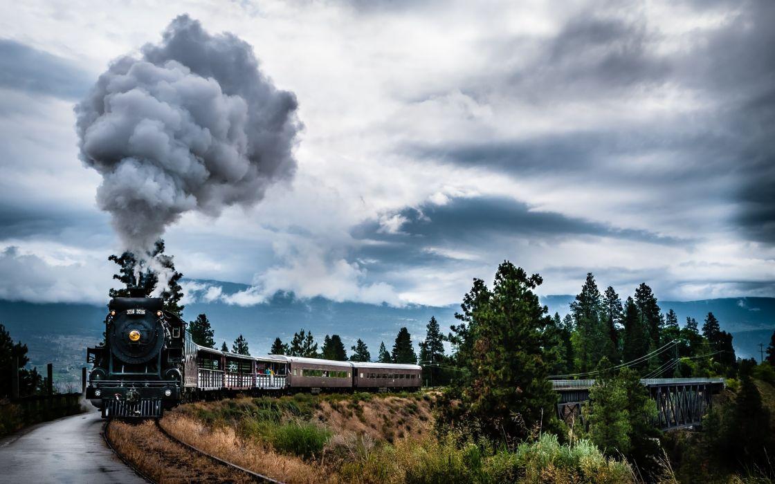 engines locomotive retro classic tracks railroad smoke wallpaper