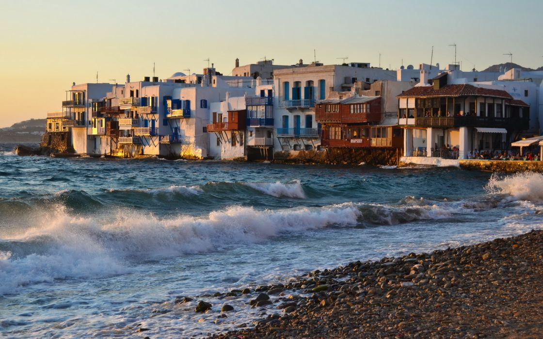 Greece Mykonos buildings resort villa houses tropical nature beaches waves ocean sea wallpaper