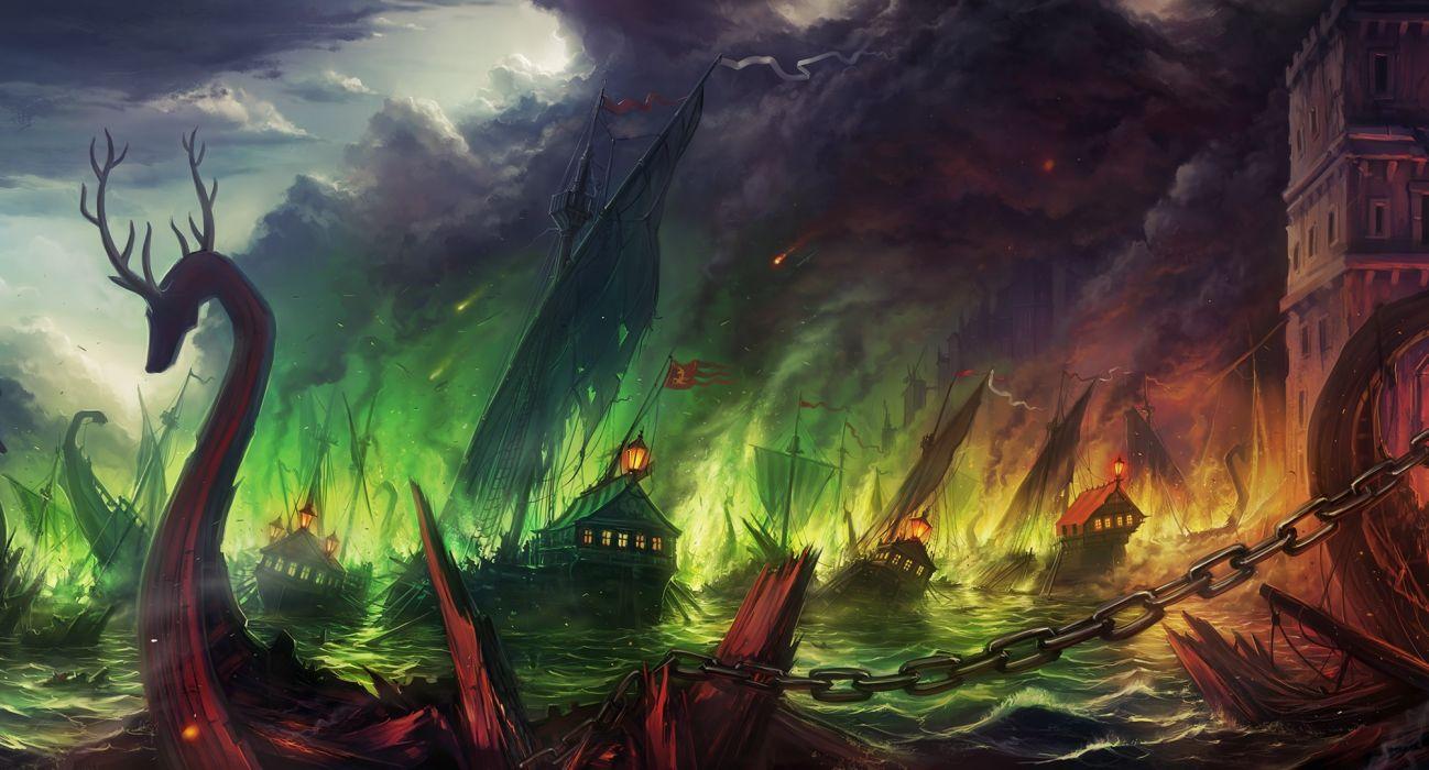 fantasy dragon monster creature serpent battle war destruction fire ships color art cities castle ocean sea wallpaper