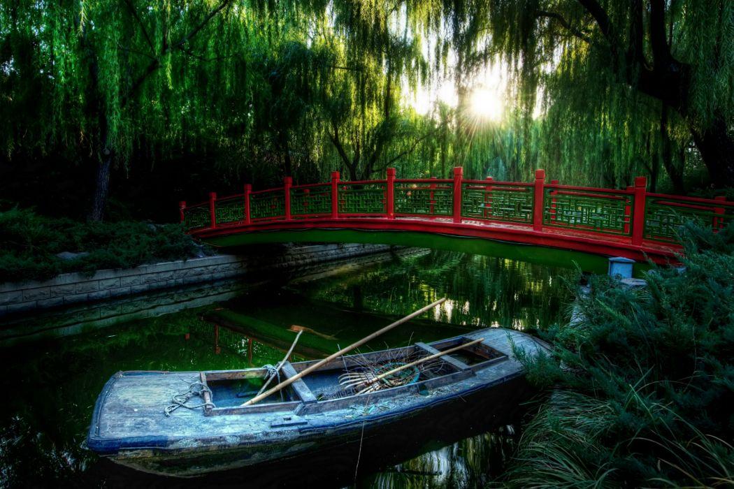 architecture bridges mood boat river trees garden wallpaper