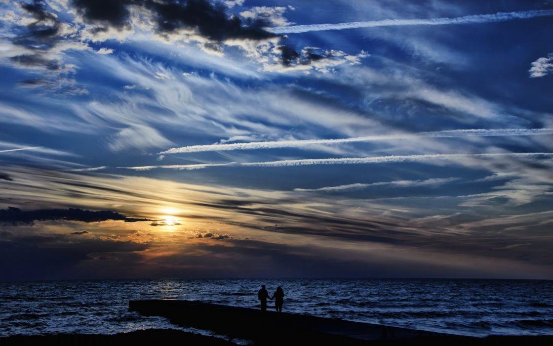 ocean sea sky sunset sunrise clouds people love romance mood wallpaper