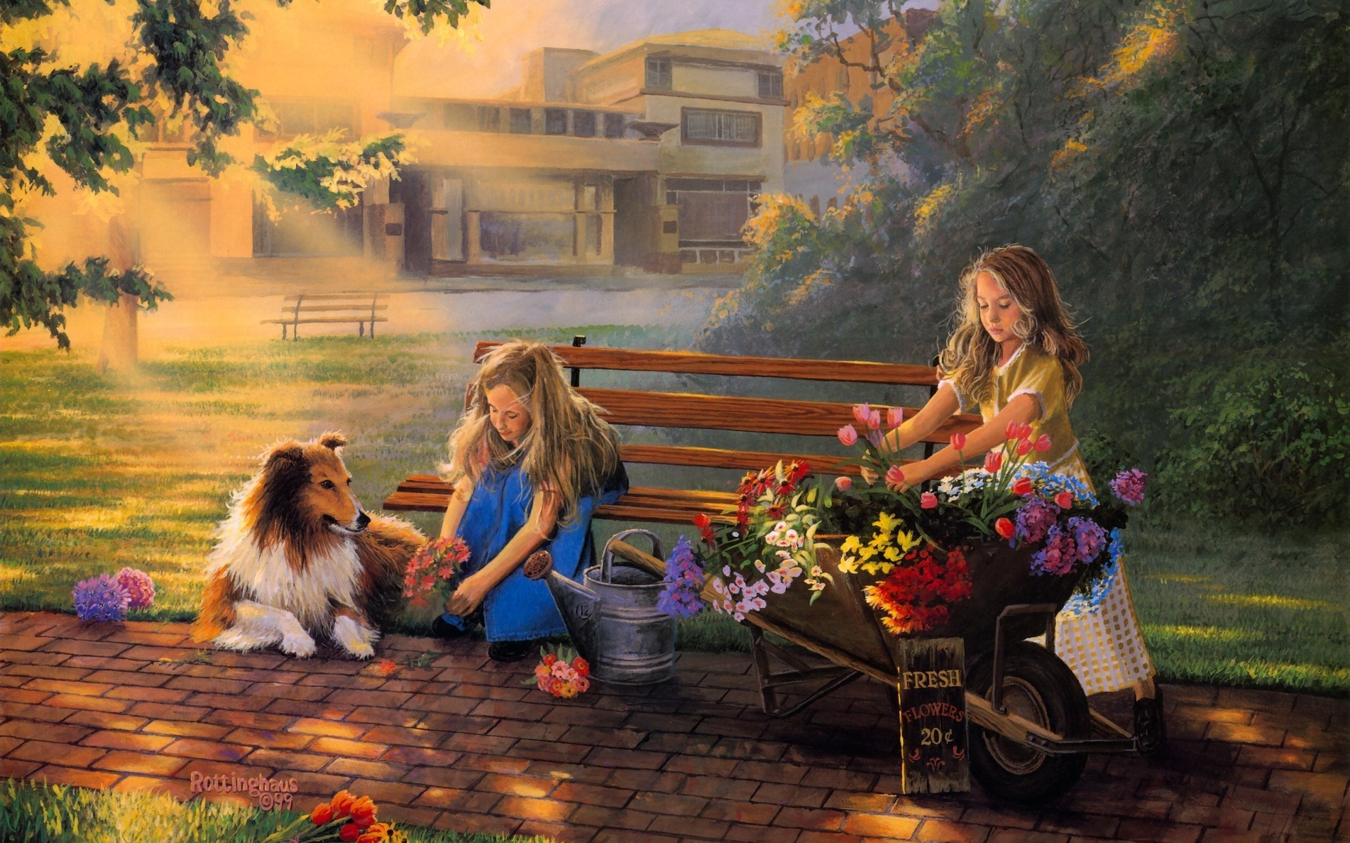 Paintings art children kids flowers cute wallpaper for Paintings of toddlers