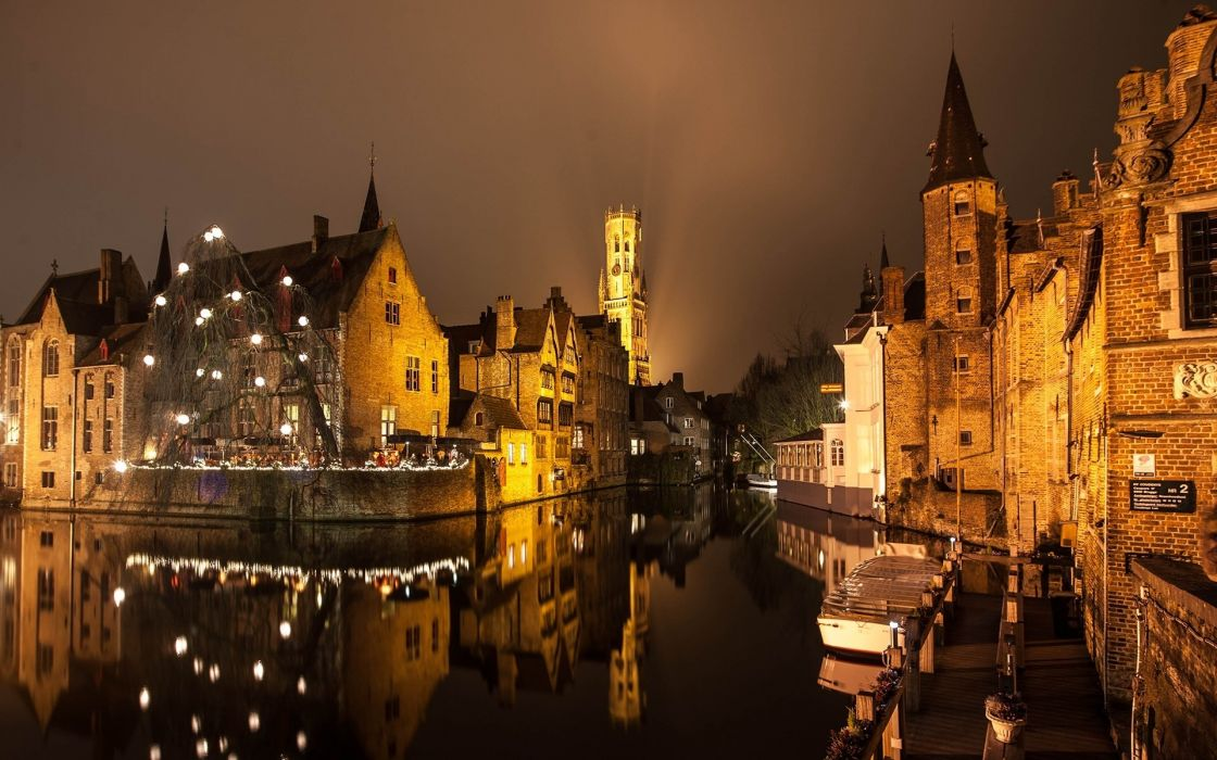 Brugge night lights buildings water canal reflection wallpaper