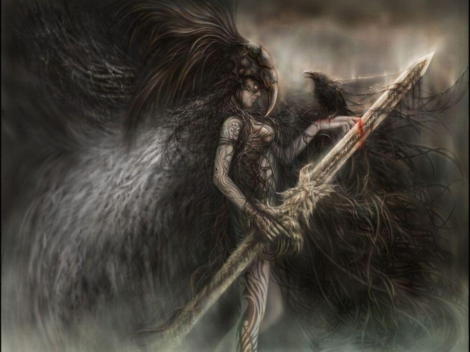 Luis Royo fantasy art warrior weapons blood wallpaper