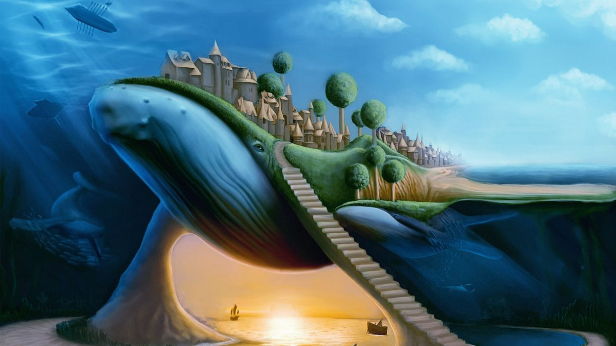 animals whales surreal dream fantasy whale cities travel ocean sea architecture buildings wallpaper