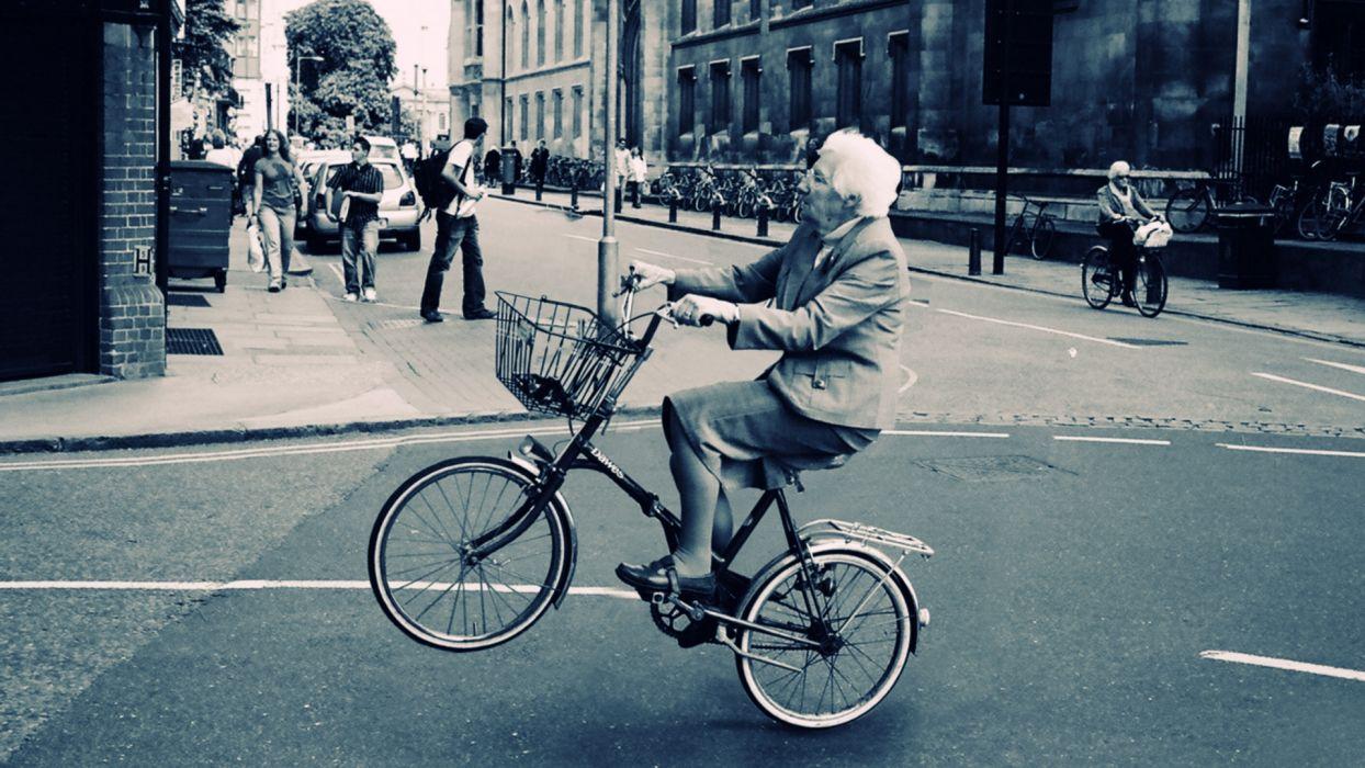 bicycle women black white humor roads people buildings wallpaper